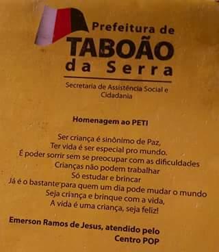 Poesia de Emerson no calendário de Taboão da Serra.