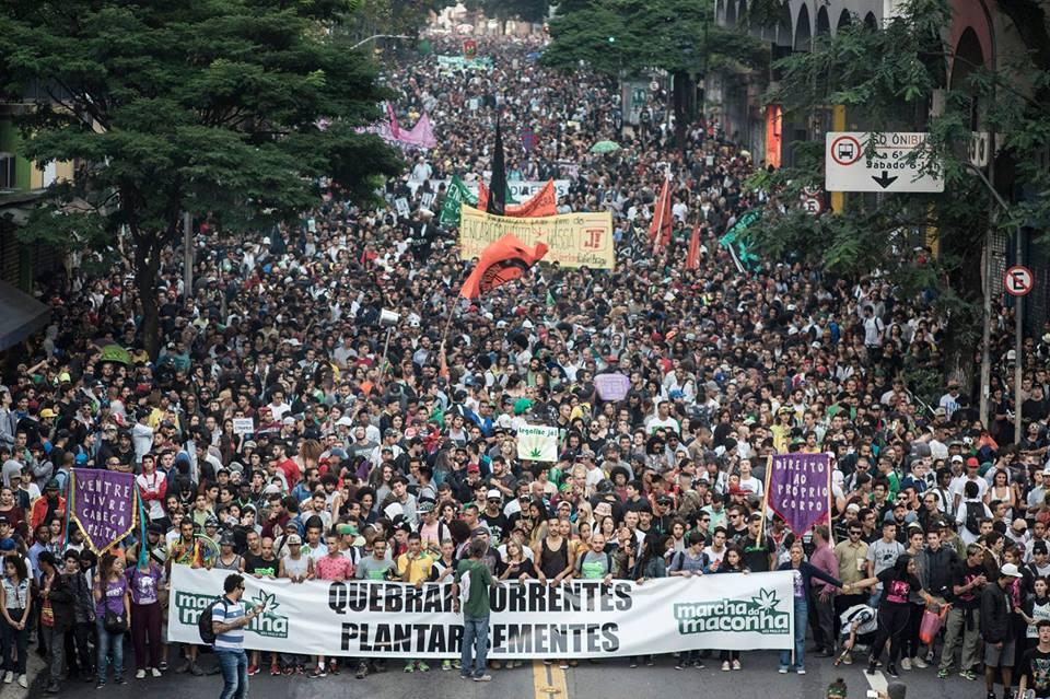 100 mil pessoas descendo a av. Brigadeiro na Marcha da Maconha SP de 2017 / Foto: Tiago Pelegrini Macambira